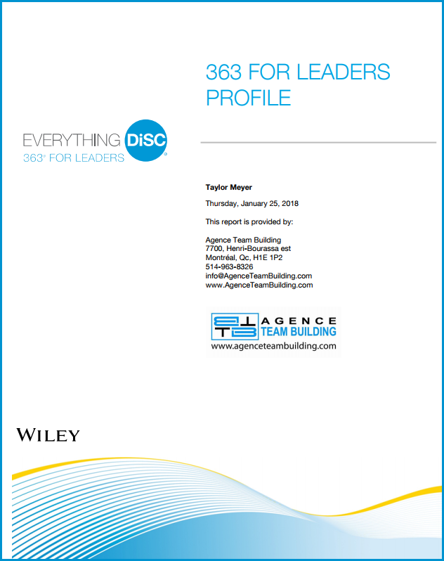 DISC Personality Assessment 363 for Leaders Profile